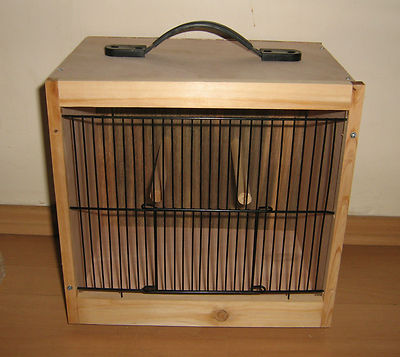 Small Wood Bird Carry Transport Display Show Cage 29cm X